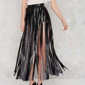 Nasty gal Black fringe skirt small